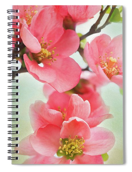 Spiral Notebook featuring the mixed media Coral Quince by Emily Johnson
