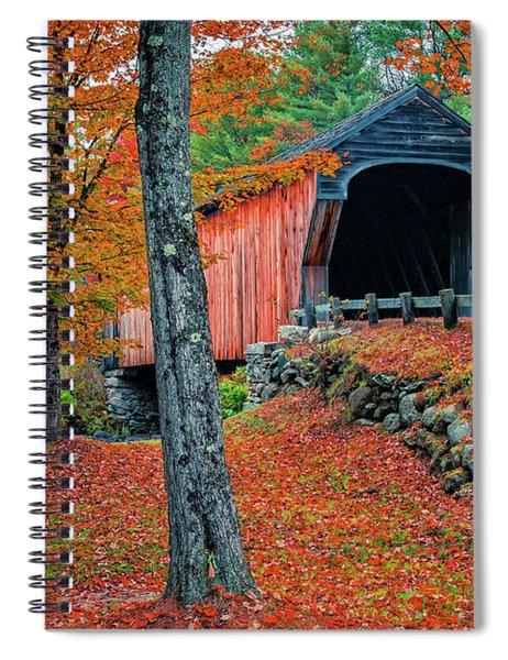 Corbin Covered Bridge Newport New Hampshire Fall 3 Spiral Notebook
