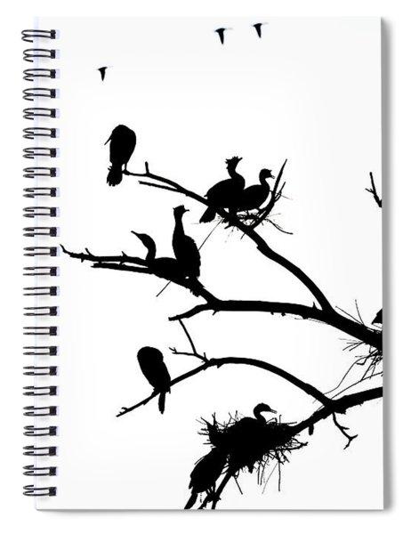 Cormorant's In Silhouette Spiral Notebook