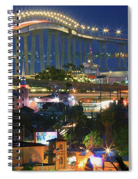 Coronado Bay Bridge Shines Brightly As An Iconic San Diego Landmark Spiral Notebook