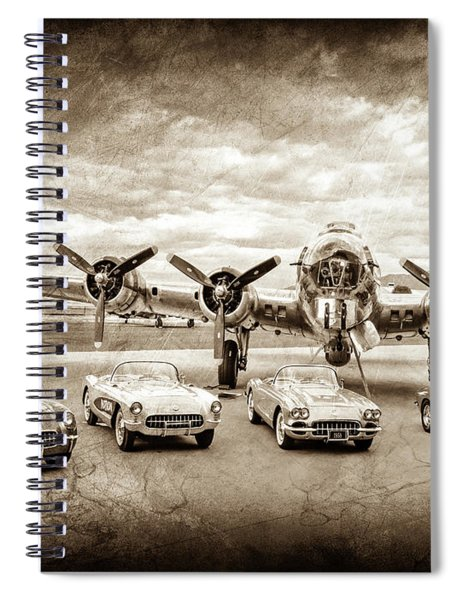Corvettes And B17 Bomber -0027cl2 Spiral Notebook by Jill Reger