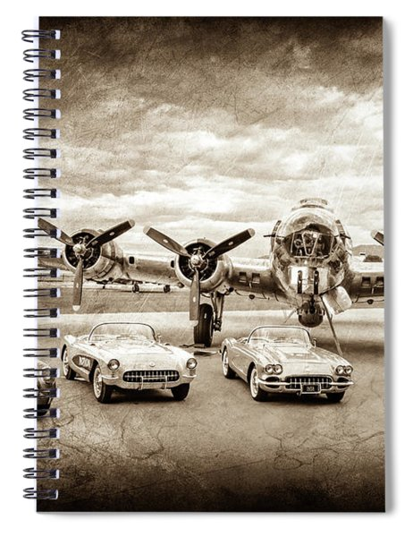 Corvettes And B17 Bomber -0027s Spiral Notebook