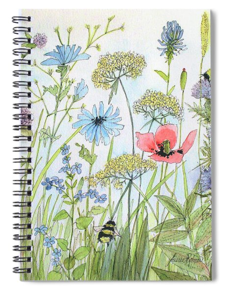 Cottage Flowers And Bees Spiral Notebook