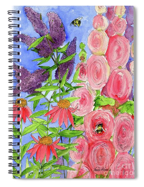 Cottage Garden Hollyhock Bees Blue Skie Spiral Notebook