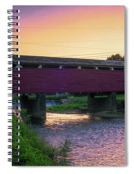 Covered Bridge Sunset Spiral Notebook