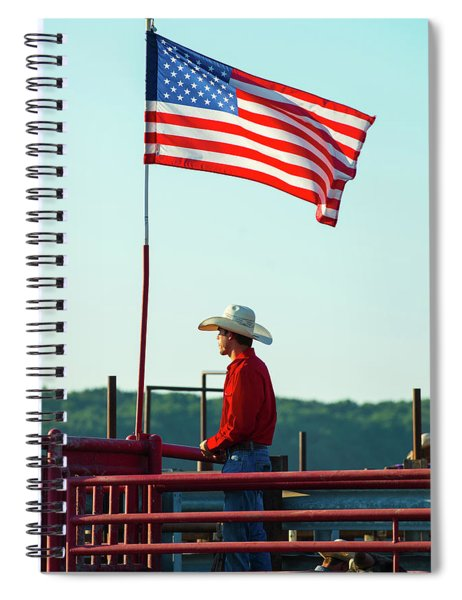 Cowboy And American Flag Spiral Notebook