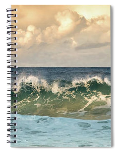 Crashing Waves And Cloudy Sky Spiral Notebook