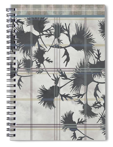 Cream Thistle Plaid Contrast Border Spiral Notebook