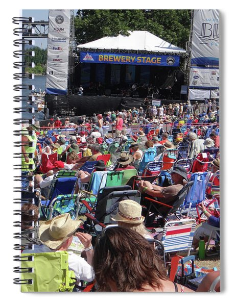 Crowd Enjoys Listening On A Sunny Day  Spiral Notebook