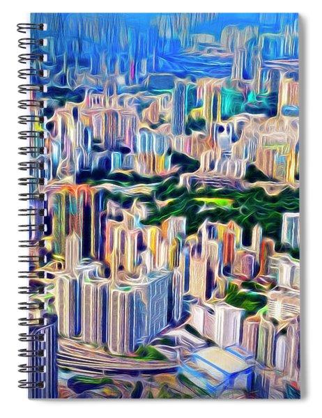 Crowded Hong Kong Abstract Spiral Notebook