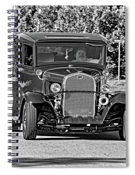 Cruising Sauble Beach - Red Ford Hotrod Bw Spiral Notebook