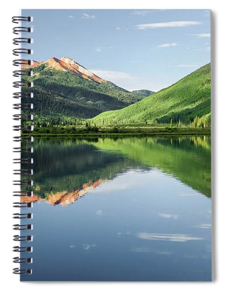 Crystal Lake Red Mountain Reflection Spiral Notebook by Robert Bellomy