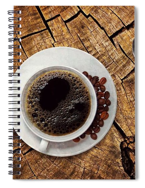 Cup Of Coffe On Wood Spiral Notebook