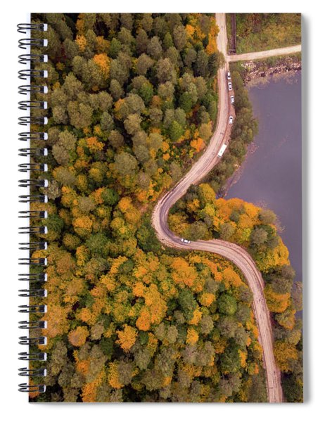 Curved Road At Lakeside Spiral Notebook