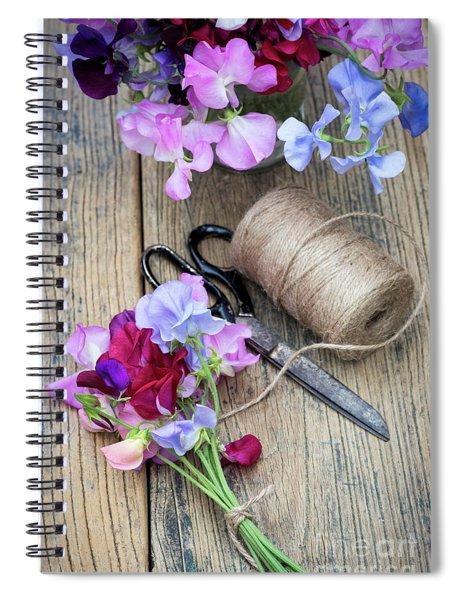 Cut Sweet Pea Flowers  Spiral Notebook