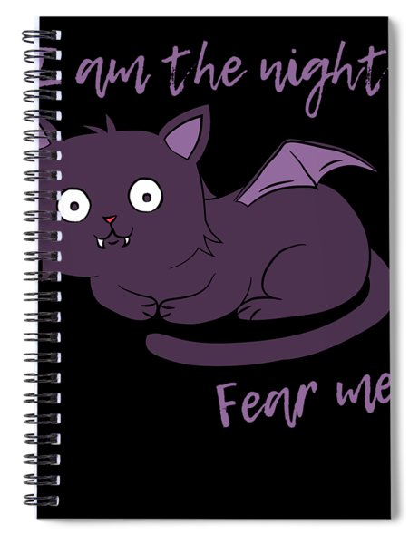 Cute Halloween Cat I Am The Night Fear Me Spiral Notebook