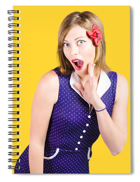 Cute Shocked Girl With Pinup Make-up And Hairstyle Spiral Notebook