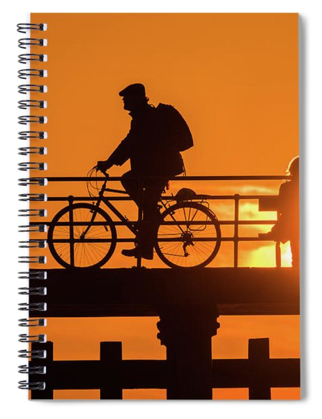 Cyclist Silhouetted At Sunset Spiral Notebook