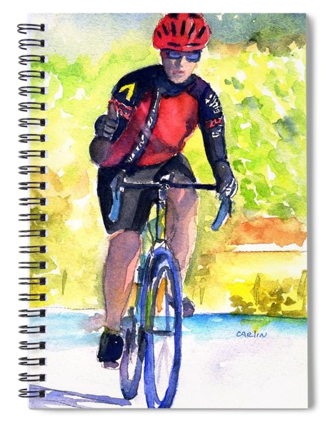 Cyclist Thumbs-up Ride Spiral Notebook