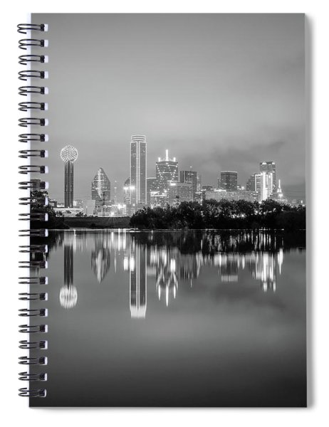 Dallas Cityscape Reflections Black And White Spiral Notebook