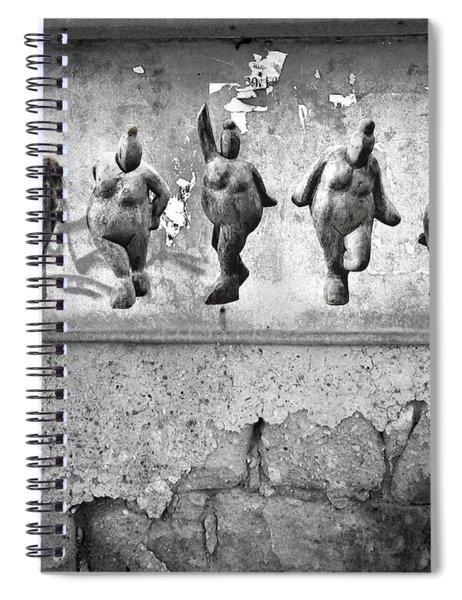 Dancing Venus - Naked Crones Black And White Spiral Notebook