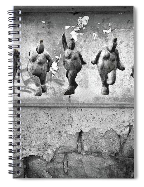 Dancing Venus - Naked Crones Black And White Spiral Notebook