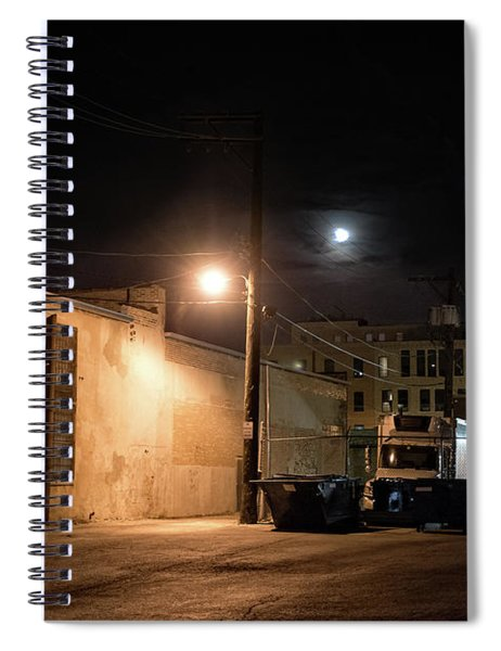 Dark Chicago City Alley At Night With The Moon Spiral Notebook