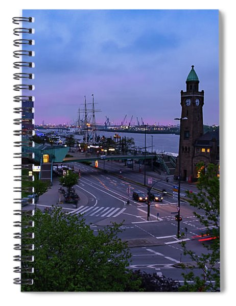 Dawn Over The Port And City Hamburg Panorama Spiral Notebook