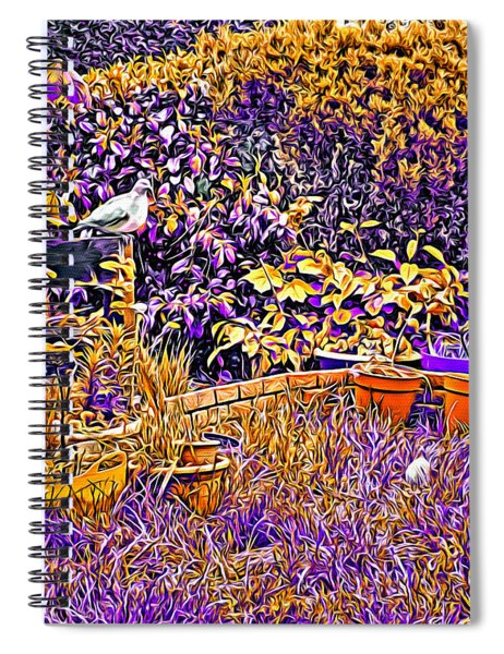 Dayglow Garden With A Pigeon And Egg, Abbie Shores Faa Challenge 19 Spiral Notebook
