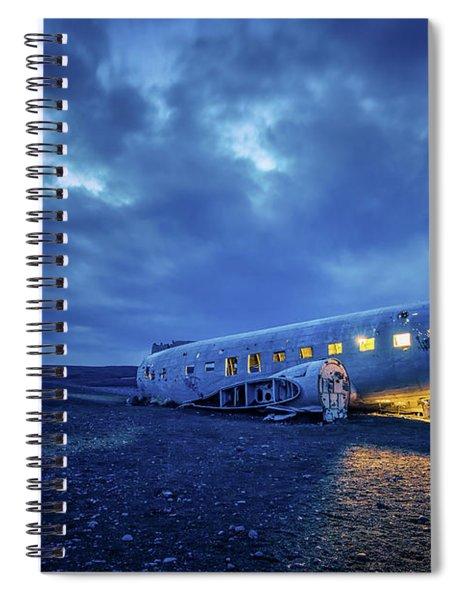 Dc-3 Plane Wreck Illuminated Night Iceland Spiral Notebook