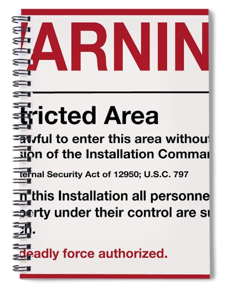 Deadly Force Warning Sign Spiral Notebook