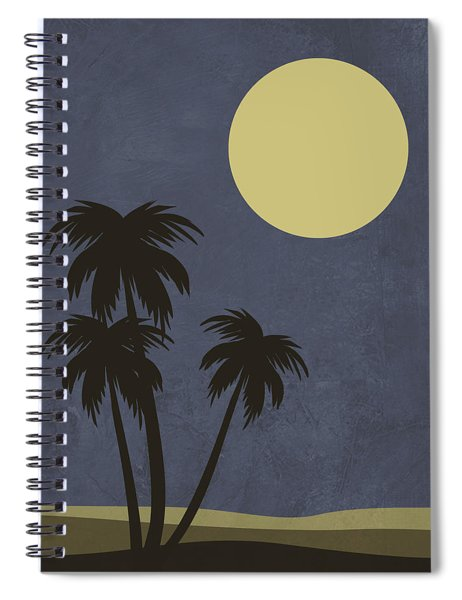 Desert Palm Trees And Yellow Moon Spiral Notebook