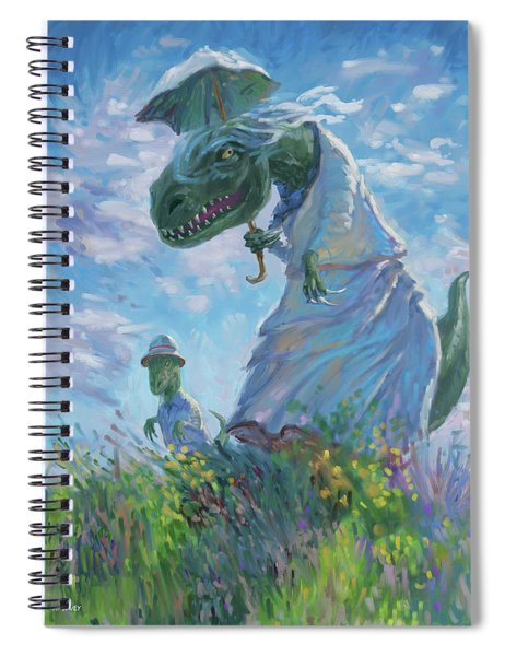 Dinosaur And Son With A Parasol  Spiral Notebook by Martin Davey