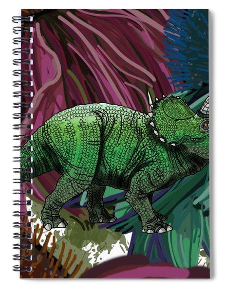 Dinosaur Triceratops Flowers Spiral Notebook