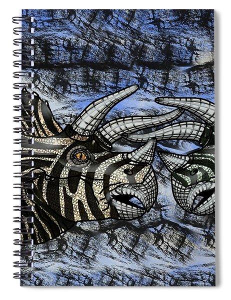 Dinosaur Triceratops Head On Battle Spiral Notebook