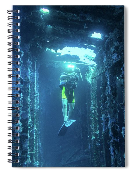 Diver In The Patris Shipwreck Spiral Notebook