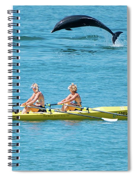 Dolphin Leaping Over Two Rowers Spiral Notebook