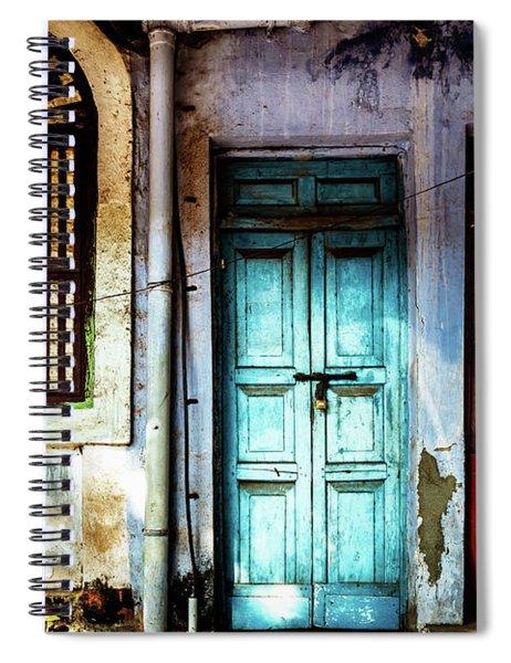 Doors Of India - Blue Door And Red Door Spiral Notebook