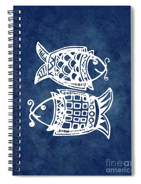 Double Fishes On Blue Spiral Notebook