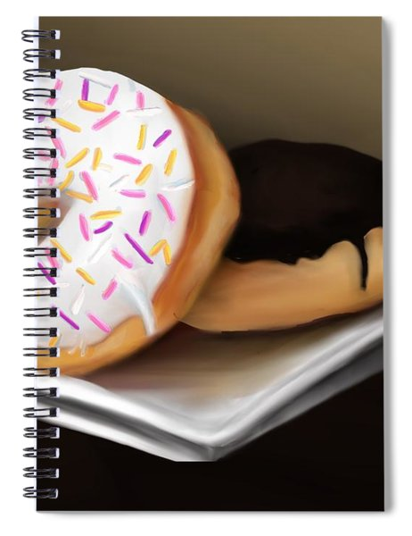 Spiral Notebook featuring the painting Doughnut Life by Fe Jones