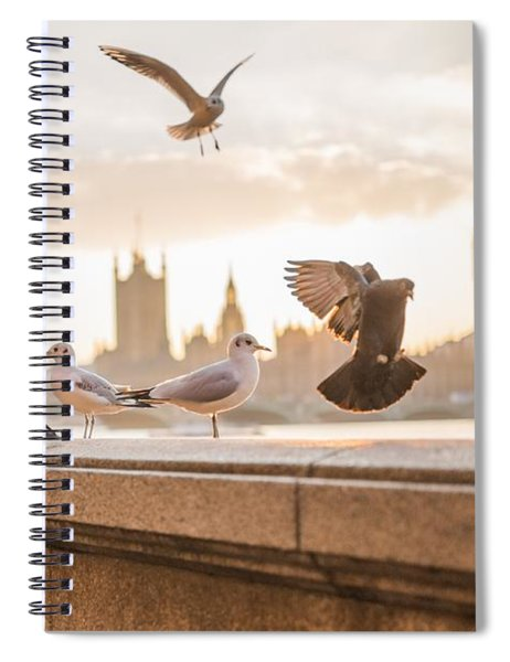 Doves And Seagulls Over The Thames In London Spiral Notebook