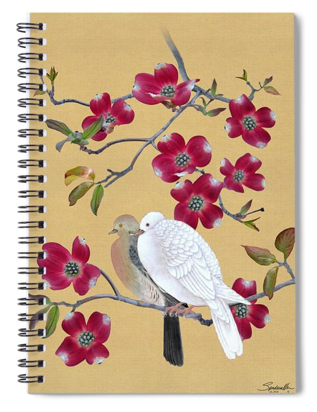 Doves In Red Dogwood Tree Spiral Notebook
