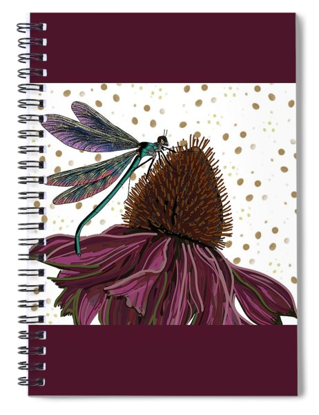 Dragon Fly And Echinacea Flower Spiral Notebook
