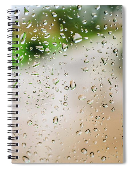 Drops Of Rain On An Autumn Day On A Glass. Spiral Notebook