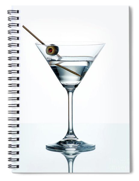 Dry Martini With Green Olive In Cocktail Glass Over White Backgr Spiral Notebook