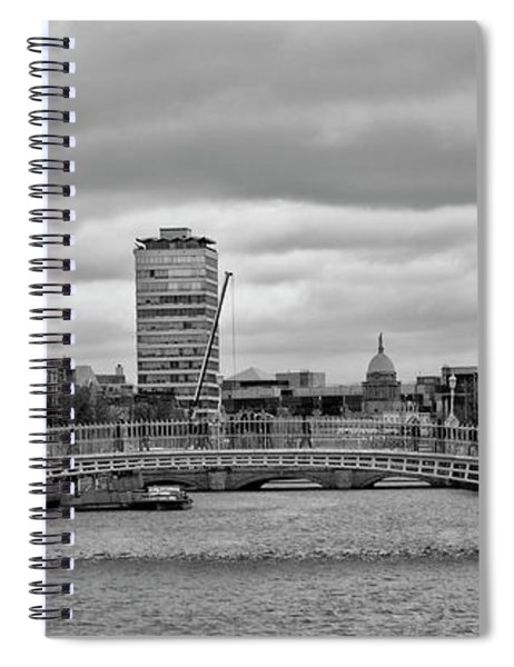Dublin Ireland - Ha Penny Bridge In Black And White Spiral Notebook