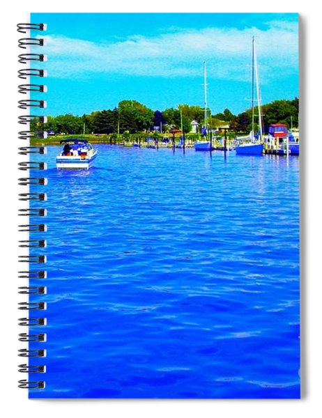 Dunkirk New York Harbor With Neon Effect By Rose Santucisofranko Spiral Notebook by Rose Santuci-Sofranko