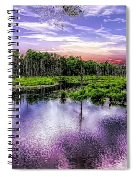 Dusk Falls Over New England Beaver Pond. Spiral Notebook