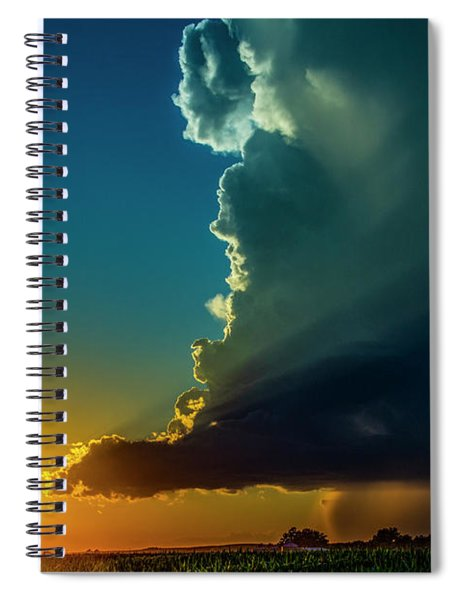 Spiral Notebook featuring the photograph Dying Nebraska Thunderstorms At Sunset 068 by NebraskaSC