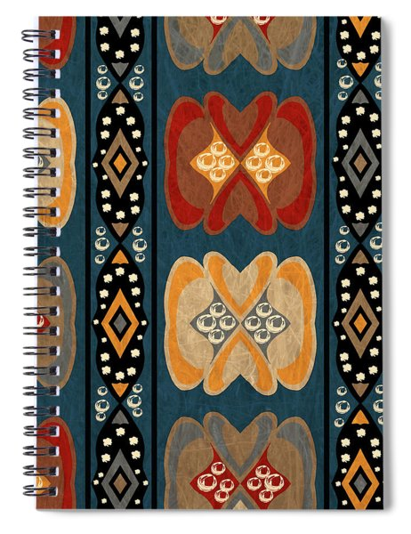 East African Heart And Diamond Stripe Pattern Spiral Notebook